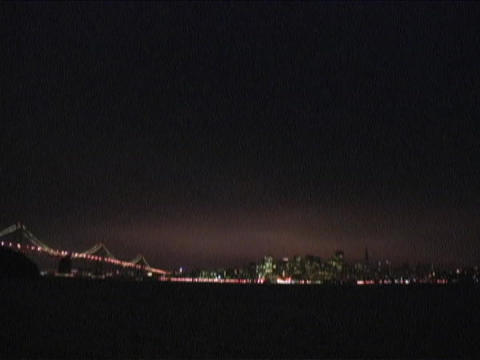 Bay Bridge leads to San Francisco, California Stock Video Footage
