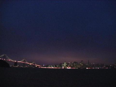 Bay Bridge leads to San Francisco, California Stock Video Footage