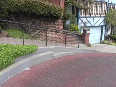 Lombard St in San Francisco winds through the town Stock Video Footage