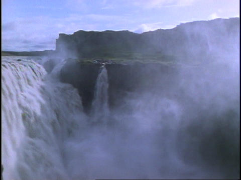 The Godafoss waterfall flows in Iceland Live Action