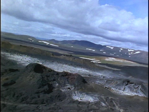Geothermal activities dot Iceland's barren region Stock Video Footage