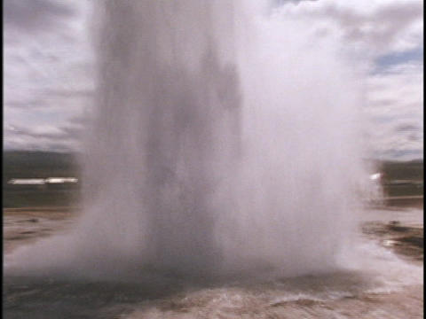 A geyser erupts at Yellowstone National Park Footage
