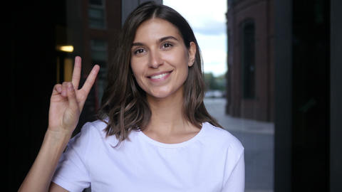 Victory Sign by Beautiful Female Winner Footage