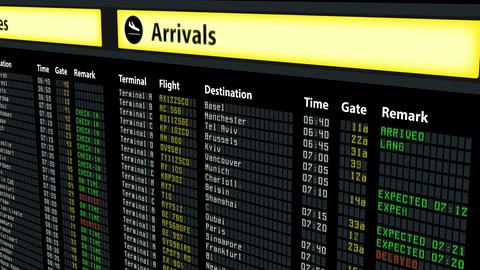 Flight schedule board at airport, travel information, arrivals and departures Footage