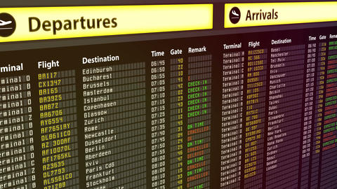 Flights change to canceled on arrival and departures sign board, bad weather Footage
