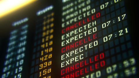 Flights canceled or delayed on information board, terrorism threat at airport Live Action