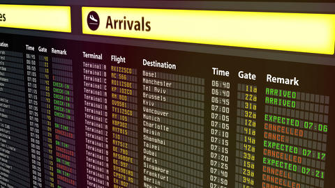 Arrival and departures timetable at airport, all flights canceled due to weather Footage