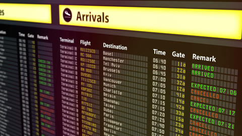 Multiple flights change to canceled on schedule board, imminent terror threat Live Action