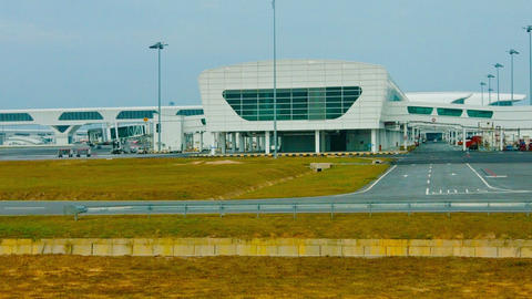 Enormous terminal building at Kuala Lumpur International Airport in Malaysia. wi Footage