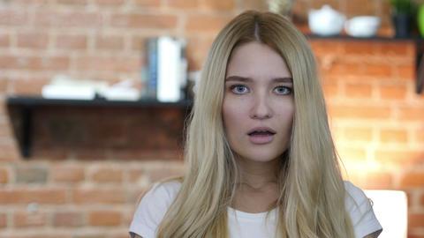 Amazed , Shocked Beautiful Girl Footage