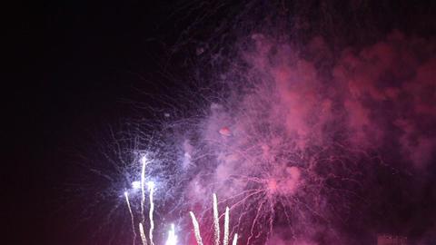 Firework streaks in the night sky Footage