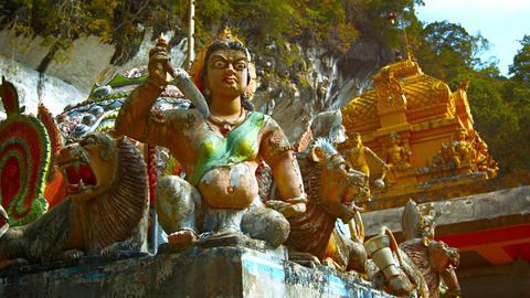 Fierce Looking Hindu Statues outside a Temple Footage