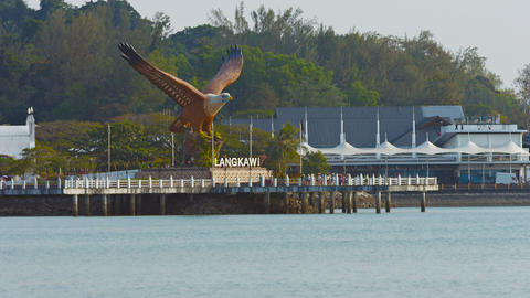 Eagle Statue Overlooking Harbor at Langkawi. Malaysia Live Action