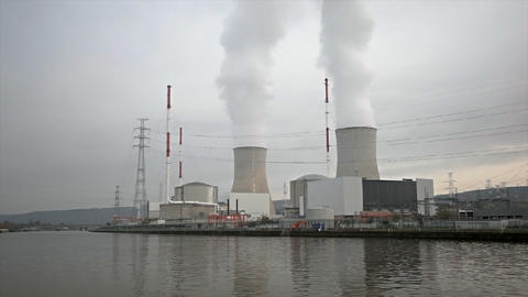Nuclear Power Station By River Footage