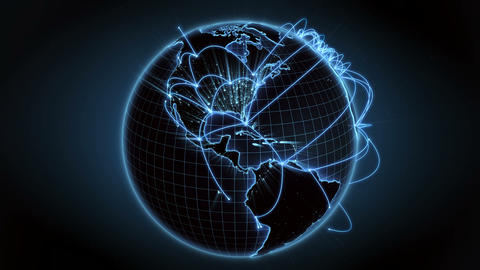 Growing global network across the world. Internet and business concept. 4K Animation