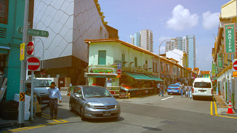 Typical Street Corner in Singapore's Indian Quarter Footage