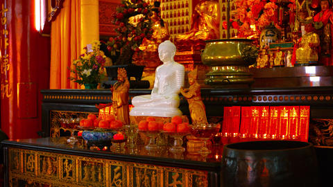 Intricately Ornamented Interior of Thean Hou Temple in Kuala Lumpur. Malaysia Footage