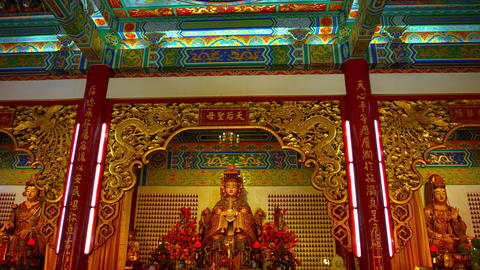 Inside the Main Prayer Hall of Thean Hou Temple. with a Statue of the Godess Maz Footage