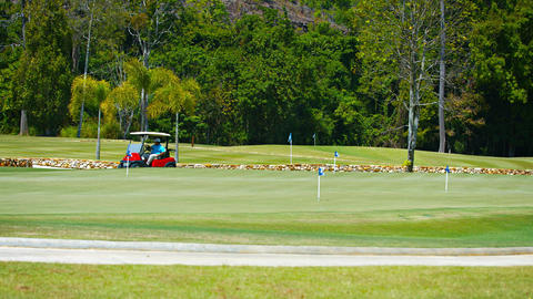 Golf Cart Zooming By a Green at the Datai Bay Golf Club in Langkawi. Malaysia Live Action