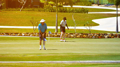 Pair of golfers putting on a green at the Gulf Club. Datai Bay in Langkawi Malay Footage