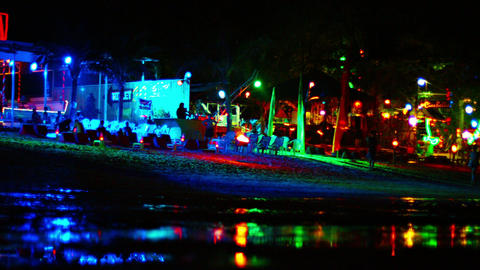 Nightlife on a beach on Phi Phi Island. a popular tourist destination in Thailan Footage