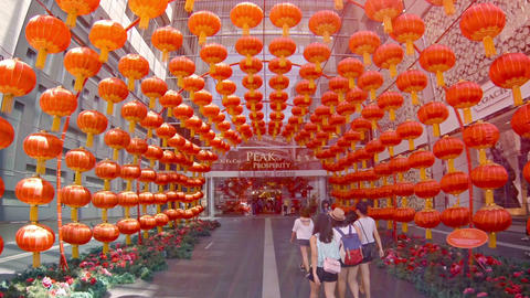 Dozens of Big Paper Lanterns at the Entrance to Pavilion Kuala Lumpur. a Major S Footage