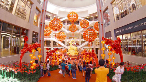 Hundreds of Red Paper Lanterns Hung in Patterns as Chinese New Year Decorations Footage