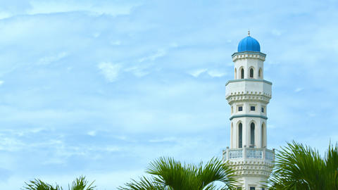 Single Minaret of a Mosque against a Cloudy Sky Footage