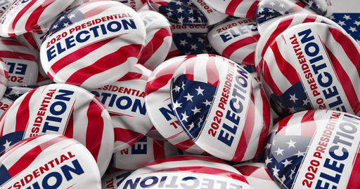 2020 Presidential Election Tracking Shot 3D Animation POTUS Campaign Buttons Animation