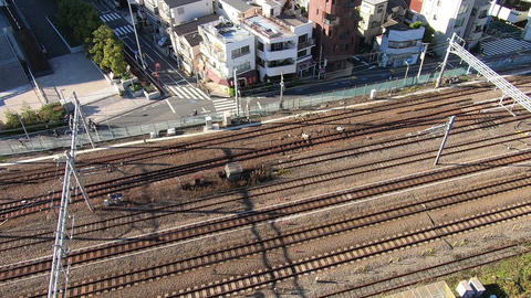 Railroad running image seen from overhead Live Action