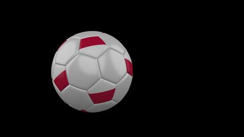 Poland flag on flying soccer ball on transparent background, alpha channel Animation