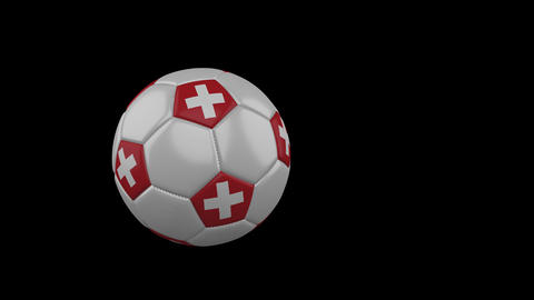 Switzerland flag on flying soccer ball on transparent background, alpha channel Animation