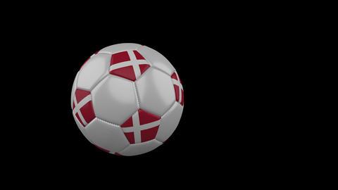 Denmark flag on flying soccer ball on transparent background, alpha channel Animation