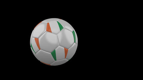 Ireland flag on flying soccer ball on transparent background, alpha channel Animation