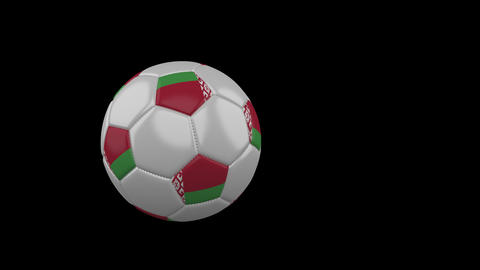 Belarus flag on flying soccer ball on transparent background, alpha channel Animation
