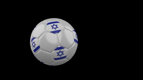 Israel flag on flying soccer ball on transparent background, alpha channel Animation