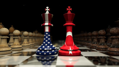 on the chessboard facing the shah of america and turkey. chess and strategy Animation