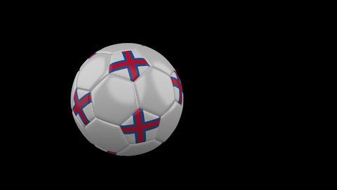 Faroe Islands flag on flying soccer ball on transparent background, alpha Animation