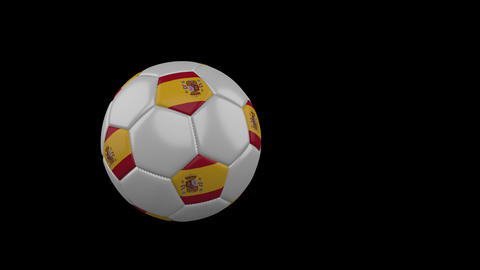 Spain flag on flying soccer ball on transparent background, alpha channel Animation