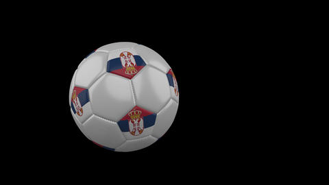 Serbia flag on flying soccer ball on transparent background, alpha channel Animation