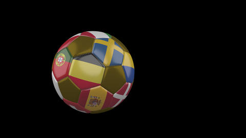 Flags of Euro on flying soccer ball on transparent background, alpha channel Animation
