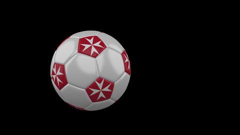 Malta flag on flying soccer ball on transparent background, alpha channel Animation
