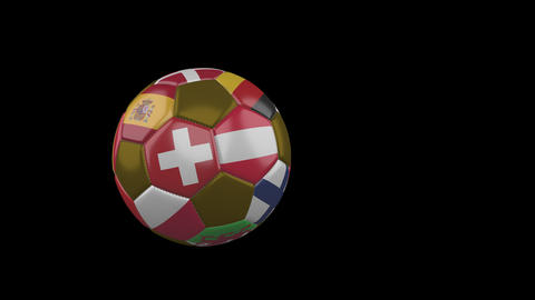 Flags of Euro on slow flying soccer ball on transparent background, alpha Animation
