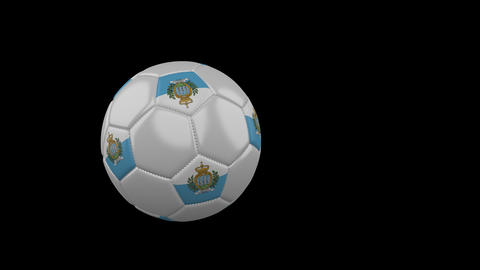 San Marino flag on flying soccer ball on transparent background, alpha channel Animation