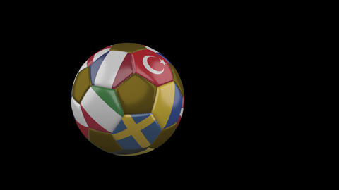 20 Flags of Euro on slow flying soccer ball on transparent background, alpha Animation