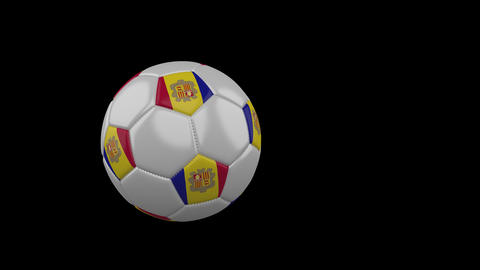 Andorra flag on flying soccer ball on transparent background, alpha channel Animation