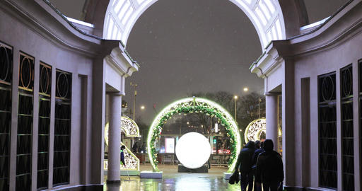 Festive illumination on the Boulevard ring near the metro Kropotkinskaya Live Action