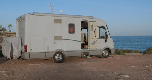 RV, Recreational vehicle, camping at the beach Live Action
