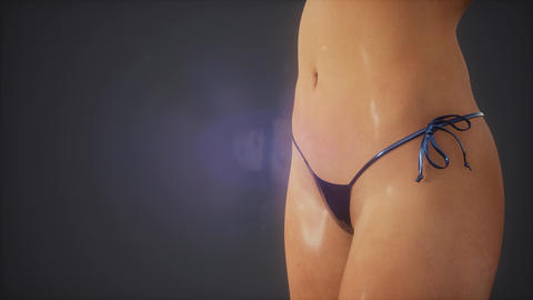 Studio shot of a young woman in a bikini Live Action