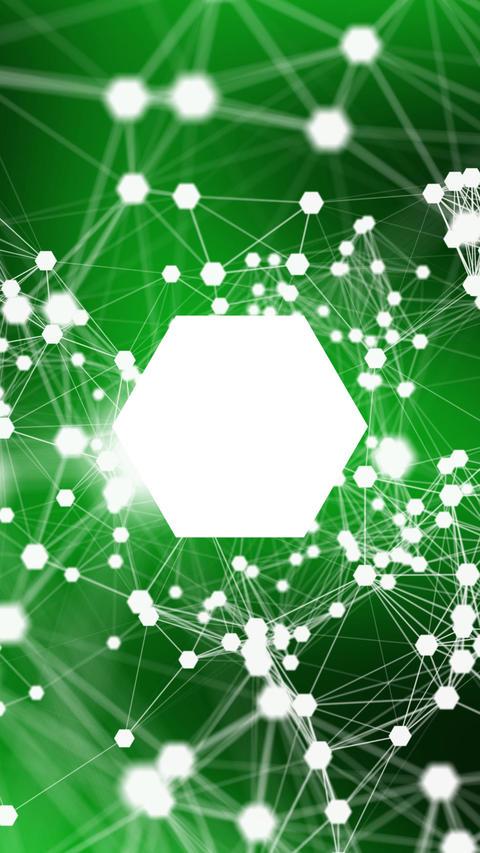 Figure in the center of the plexus - Green Hexagon Animation